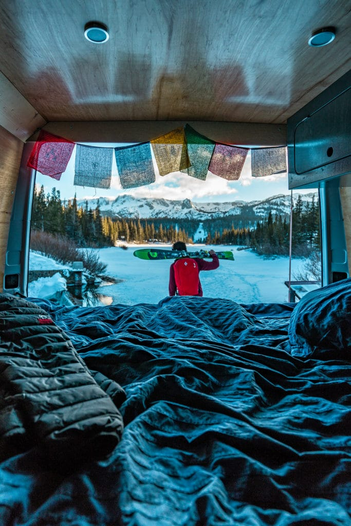 Skiing from a van makes for an unforgettable travel experience