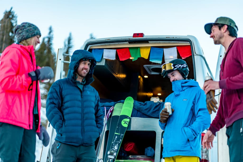 trading stories after a long day of skiing and snowboarding